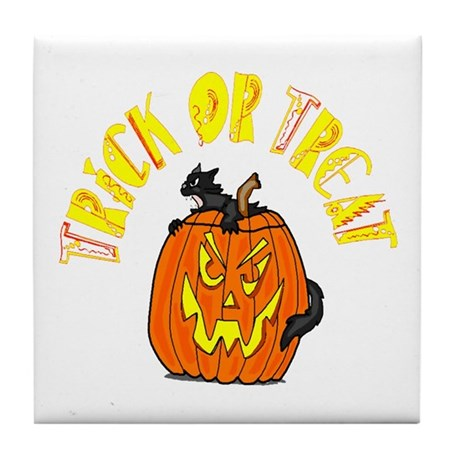 Jack o Lantern Cat Tile Coaster