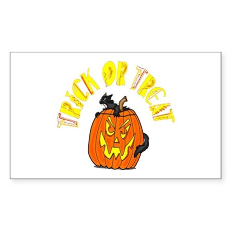 Jack o Lantern Cat Rectangle Sticker