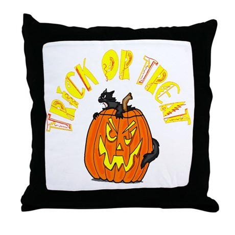 Jack o Lantern Cat Throw Pillow
