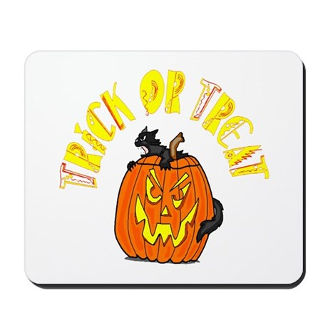 Jack o Lantern Cat Mousepad