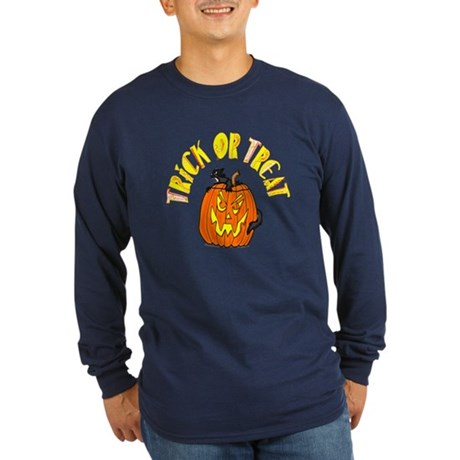 Jack o Lantern Cat Long Sleeve Dark T-Shirt