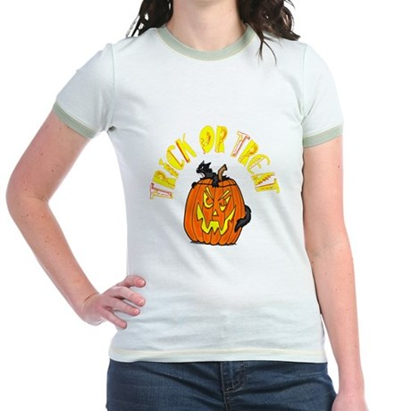 Jack o Lantern Cat Jr. Ringer T-Shirt