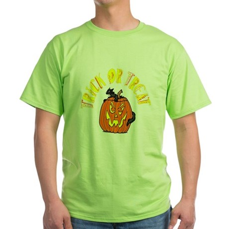 Jack o Lantern Cat Green T-Shirt