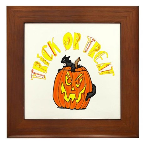Jack o Lantern Cat Framed Tile