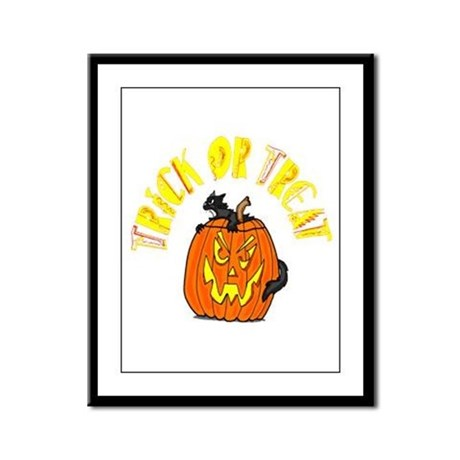 Jack o Lantern Cat Framed Panel Print