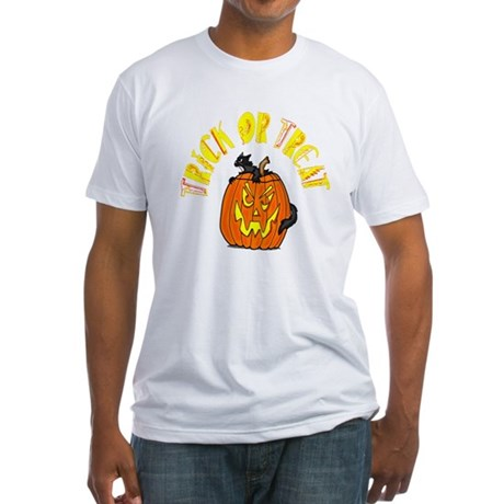 Jack o Lantern Cat Fitted T-Shirt