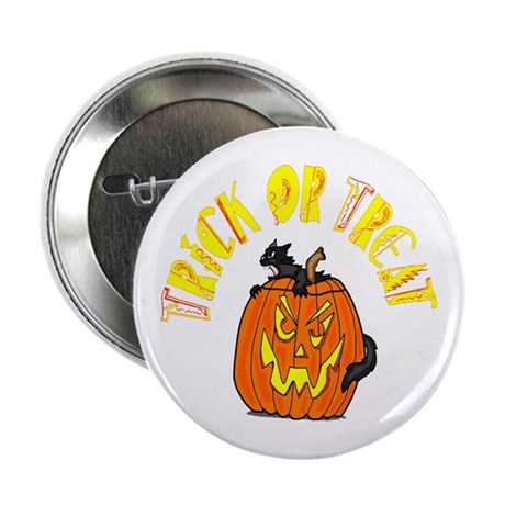 "Jack o Lantern Cat 2.25"" Button (100 pack)"