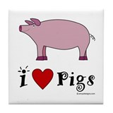 Pig Tile Coaster: I love Pigs