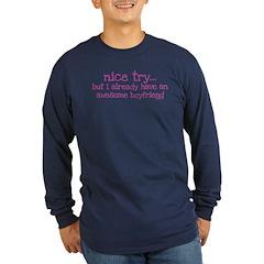 My BoyFriend is Awesome Long Sleeve Dark T-Shirt