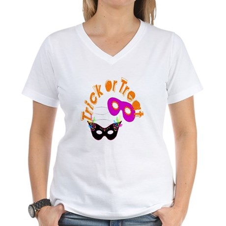 Trick or Treat Masks Women's V-Neck T-Shirt