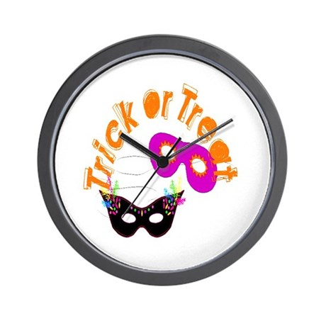 Trick or Treat Masks Wall Clock