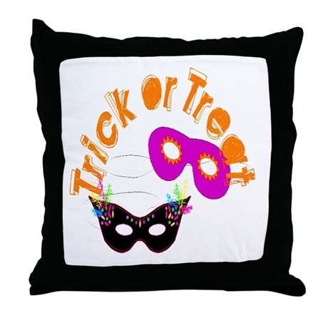 Trick or Treat Masks Throw Pillow
