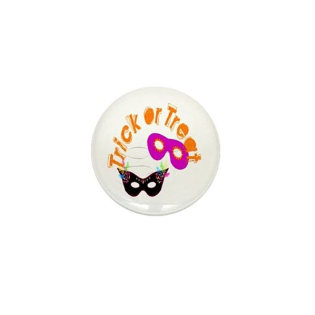 Trick or Treat Masks Mini Button (100 pack)