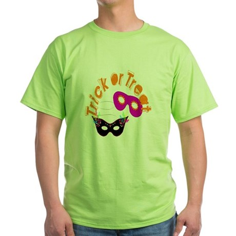 Trick or Treat Masks Green T-Shirt