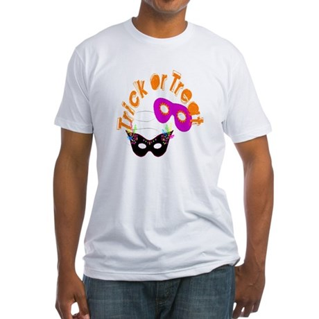 Trick or Treat Masks Fitted T-Shirt