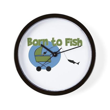 Born to fish wall clock by pinkinkart for Fish wall clock