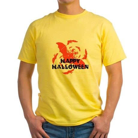 Happy Halloween Bats Yellow T-Shirt