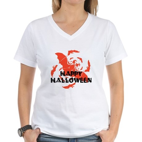 Happy Halloween Bats Women's V-Neck T-Shirt