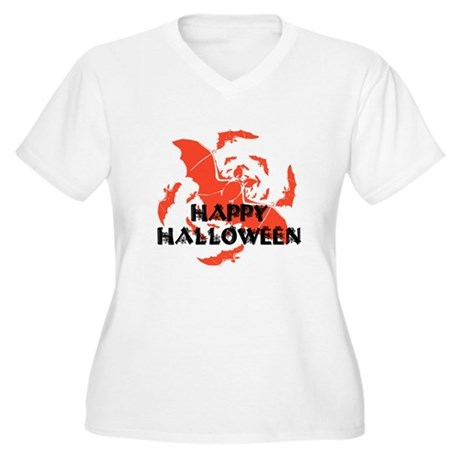 Happy Halloween Bats Women's Plus Size V-Neck T-Sh