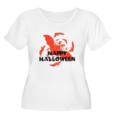 Happy Halloween Bats Women's Plus Size Scoop Neck