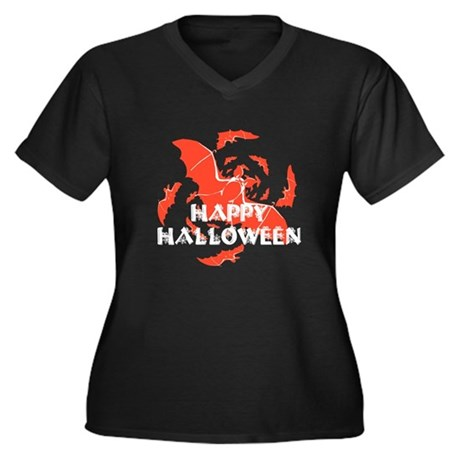 Happy Halloween Bats Women's Plus Size V-Neck Dark