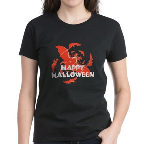Happy Halloween Bats Women's Dark T-Shirt