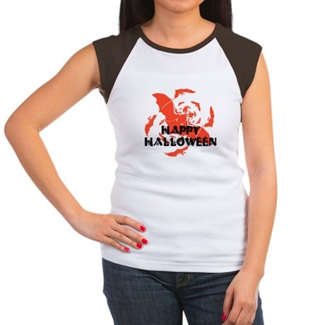 Happy Halloween Bats Women's Cap Sleeve T-Shirt