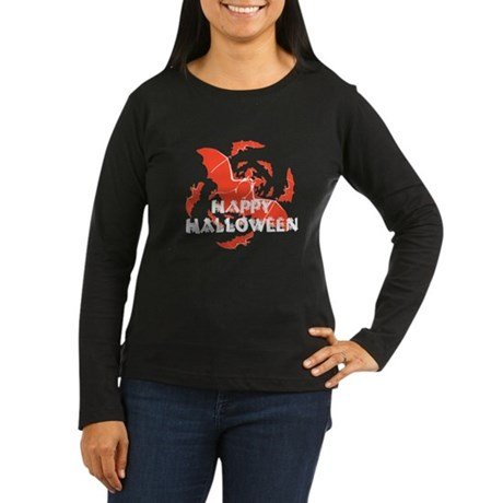Happy Halloween Bats Women's Long Sleeve Dark T-Sh