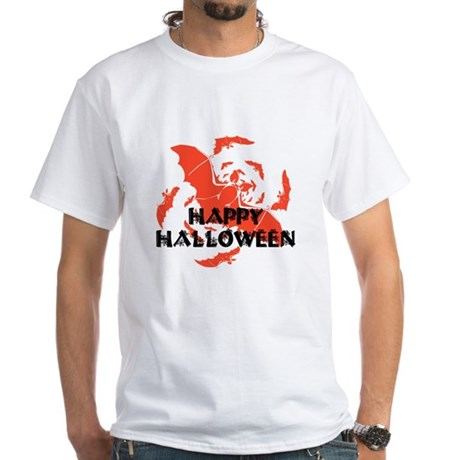 Happy Halloween Bats White T-Shirt