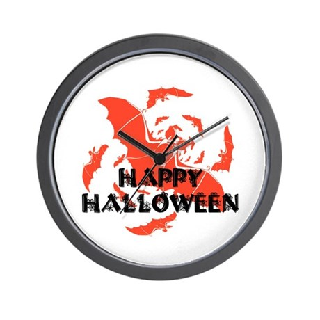 Happy Halloween Bats Wall Clock