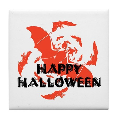 Happy Halloween Bats Tile Coaster