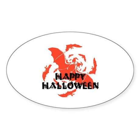 Happy Halloween Bats Oval Sticker