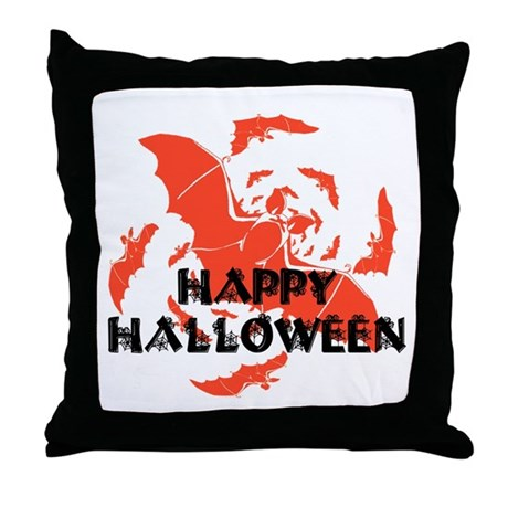 Happy Halloween Bats Throw Pillow