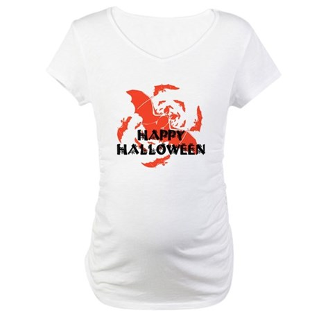 Happy Halloween Bats Maternity T-Shirt