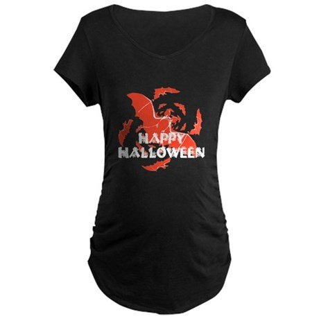 Happy Halloween Bats Maternity Dark T-Shirt