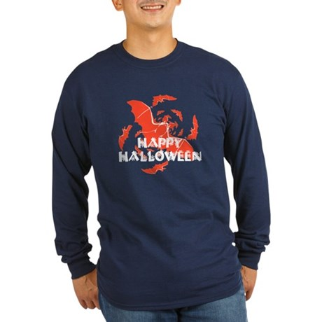 Happy Halloween Bats Long Sleeve Dark T-Shirt