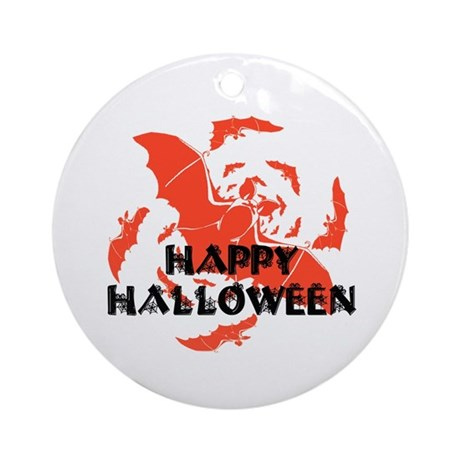 Happy Halloween Bats Ornament (Round)