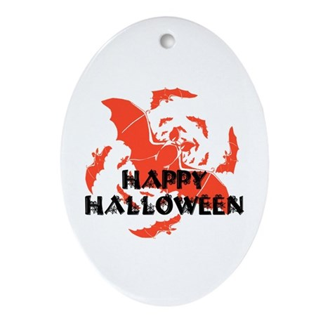 Happy Halloween Bats Oval Ornament