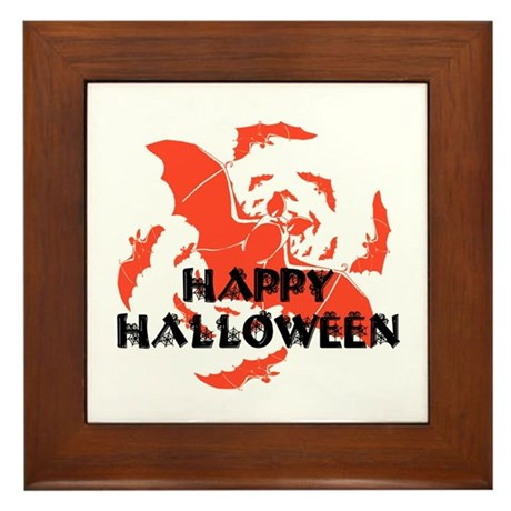 Happy Halloween Bats Framed Tile