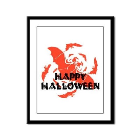 Happy Halloween Bats Framed Panel Print