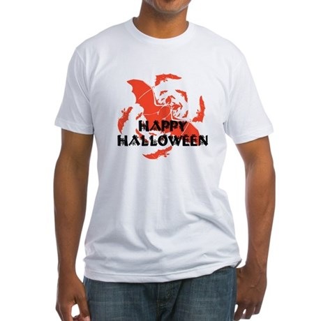 Happy Halloween Bats Fitted T-Shirt