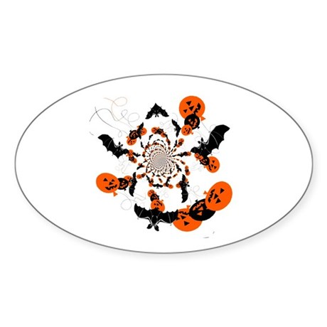Pumpkin Bats Oval Sticker