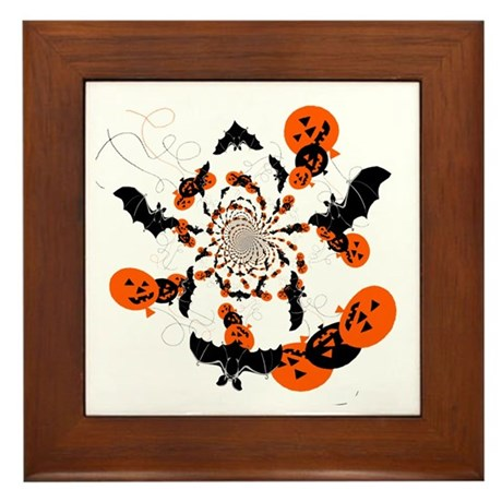 Pumpkin Bats Framed Tile