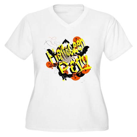Halloween Party Women's Plus Size V-Neck T-Shirt