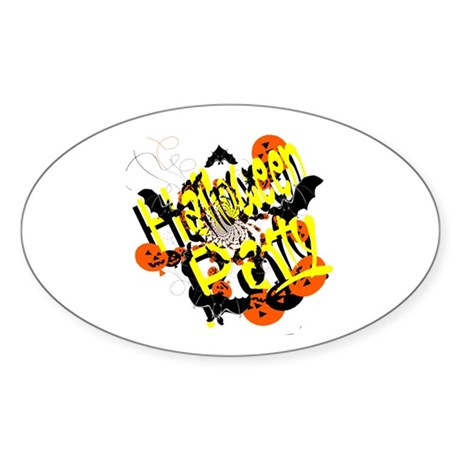 Halloween Party Oval Sticker