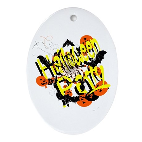 Halloween Party Oval Ornament