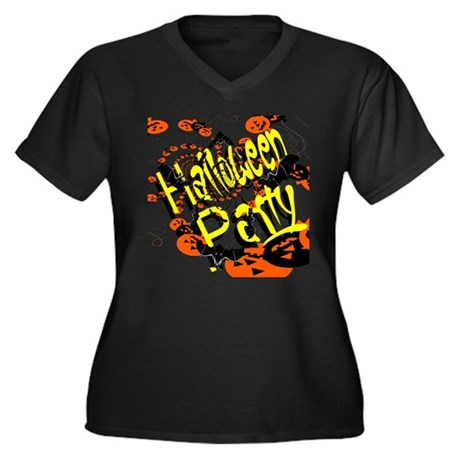 Halloween Party II Women's Plus Size V-Neck Dark T