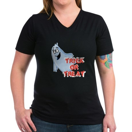 Trick or Treat Women's V-Neck Dark T-Shirt