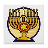Chanukah Menorah  Tile Coaster