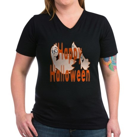 Happy Halloween Women's V-Neck Dark T-Shirt